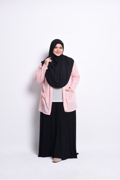 KHAWLA POCKET CARDIGAN - PEACH (KNITTED)