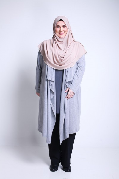 NAYLA CARDIGAN - GREY (FITS 2XL TO 7XL)