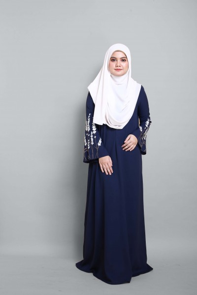 AS- IS HANIS PREMIUM EMBROIDERED JUBAH -  NAVY BLUE