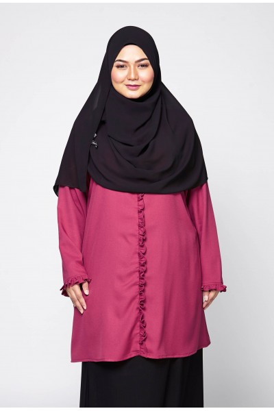 AULIA RUFFLE TUNIC - RED VIOLET