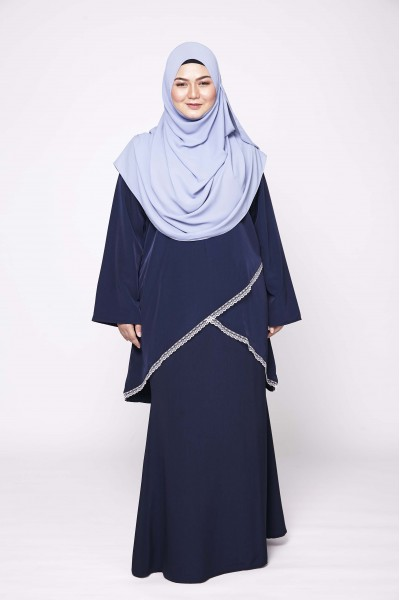 MARYAM LACEY KURUNG - NAVY BLUE