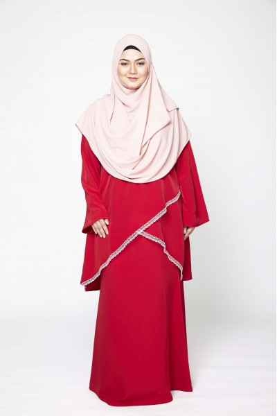 MARYAM LACEY KURUNG - RED MAROON