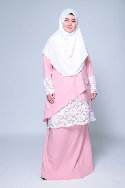 (PRE-ORDER) AISYAH PREMIUM LACEY KURUNG - DUSTY PINK